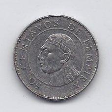 HONDŪRAS 50 CENTAVOS 1991 KM # 84a VF