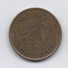 HONKONGAS 50 CENTS 1993 KM # 68 VF