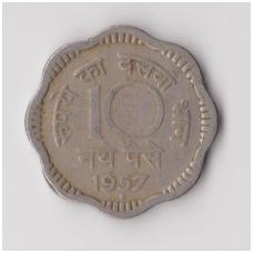 INDIJA 10 NAYE PAISE 1957 KM # 24.1 VF