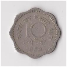 INDIJA 10 NAYE PAISE 1959 KM # 24.2 VF