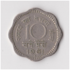INDIJA 10 NAYE PAISE 1961 KM # 24.2 VF