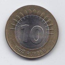 INDIJA 10 RUPEES 2008 KM # 363 XF