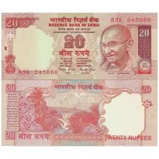 INDIJA 20 RUPEES 2002 ND P # 89Aa UNC