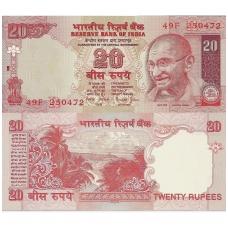 INDIJA 20 RUPEES 2002 ND P # 89Ab UNC