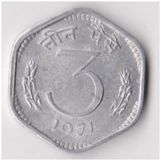 INDIJA 3 PAISE 1971 KM # 14 VF