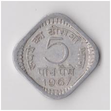 INDIJA 5 PAISE 1967 KM # 18 VF
