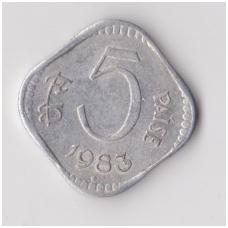 INDIJA 5 PAISE 1983 KM # 18 VF