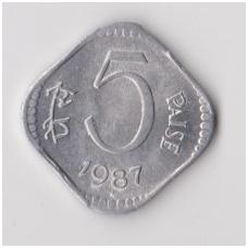 INDIJA 5 PAISE 1987 KM # 23 VF