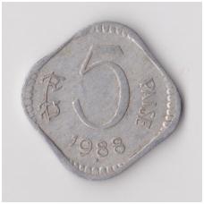 INDIJA 5 PAISE 1988 KM # 23 VF