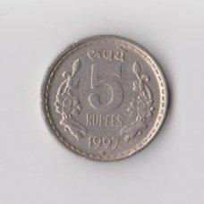 INDIJA 5 RUPEE 1997 KM # 154 VF