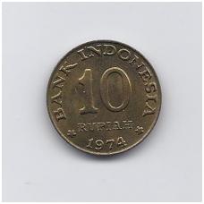 INDONEZIJA 10 RUPIAH 1974 KM # 38 UNC FAO