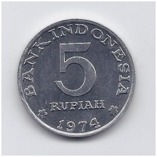 INDONEZIJA 5 RUPIAH 1974 KM # 37 AU FAO