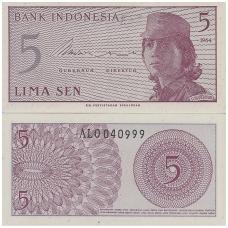INDONEZIJA 5 SEN 1964 P # 91 UNC