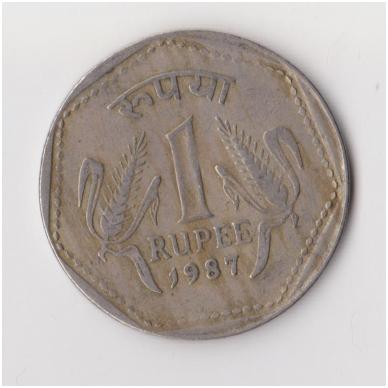 INDIJA 1 RUPEE 1987 KM # 79 VF