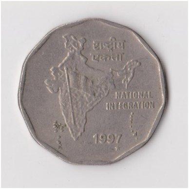INDIJA 2 RUPEE 1997 KM # 121 VF
