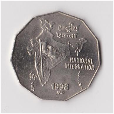 INDIJA 2 RUPEE 1998 KM # 121 XF