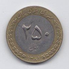 IRANAS 250 RIALS 2002 KM # 1262 VF