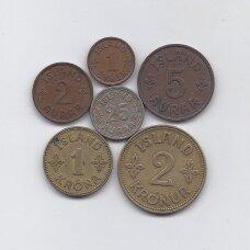 ISLANDIJA 1940 m. 6 monetų rinkinys