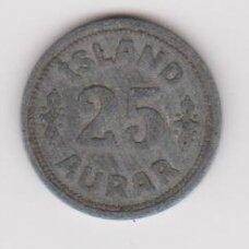 ICELAND 25 AURAR 1942 KM # 2a F