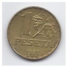 ISPANIJA 1 PESETA 1937 KM # 755 VF / XF
