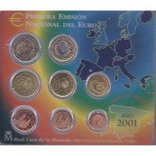 ISPANIJA 2001 m. OFICIALUS EURO MONETŲ RINKINYS (KORTELĖJE)