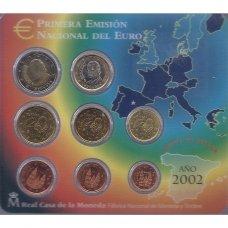 ISPANIJA 2002 m. OFICIALUS EURO MONETŲ RINKINYS (KORTELĖJE)