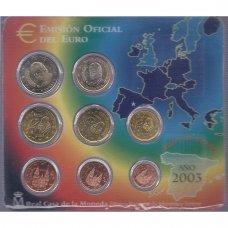 ISPANIJA 2003 m. OFICIALUS EURO MONETŲ RINKINYS (KORTELĖJE)