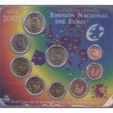 ISPANIJA 2007 m. OFICIALUS EURO MONETŲ RINKINYS SU PROGINE 2 EURŲ MONETA (KORTELĖJE)