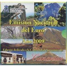 ISPANIJA 2009 m. OFICIALUS EURO MONETŲ RINKINYS SU PROGINE 2 EURŲ MONETA IR MEDALIU (KANARAI)