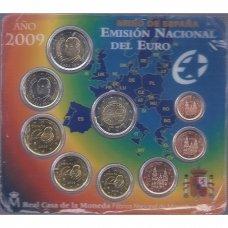 ISPANIJA 2009 m. OFICIALUS EURO MONETŲ RINKINYS SU PROGINE 2 EURŲ MONETA (KORTELĖJE)