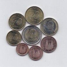 ISPANIJA 2009 m. pilnas euro monetų rinkinys (1, 2 ir 5 euro centai su juodomis pirštų antspaudų dėmėmis)