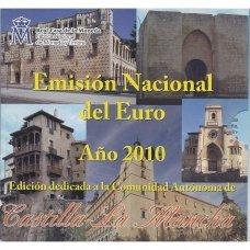 ISPANIJA 2010 m. OFICIALUS EURO MONETŲ RINKINYS SU PROGINE 2 EURŲ MONETA IR MEDALIU (KASTILIJA IR LA MANČA)