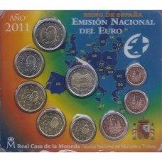 ISPANIJA 2011 m. OFICIALUS EURO MONETŲ RINKINYS SU PROGINE 2 EURŲ MONETA (KORTELĖJE)