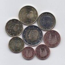 ISPANIJA 2018 m. euro monetų rinkinys (monetos nuo ritinėlių viršaus)