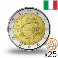 ITALIJA 2 EURAI 2012 10 m EURUI RITINĖLIS ( 25 vnt.)