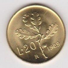 ITALY 20 LIRE 1989 KM # 97 UNC