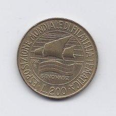 ITALIJA 200 LIRE 1992 KM # 151 VF