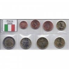 ITALIJA 2008 m. pilnas euro komplektas (50 euro centų nuo ritinėlio viršaus, 2 eurai su juodu tašku)