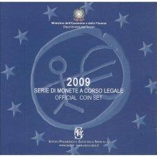 ITALIJA 2009 m. OFICIALUS BANKINIS EURO MONETŲ RINKINYS SU PROGINE 2 EURŲ MONETA