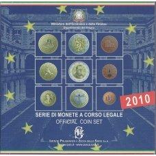 ITALIJA 2010 m. OFICIALUS BANKINIS EURO MONETŲ RINKINYS SU PROGINE 2 EURŲ MONETA