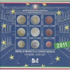 ITALIJA 2011 m. OFICIALUS BANKINIS EURO MONETŲ RINKINYS SU PROGINE 2 EURŲ MONETA