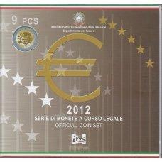 ITALIJA 2012 m. OFICIALUS BANKINIS EURO MONETŲ RINKINYS SU PROGINE 2 EURŲ MONETA