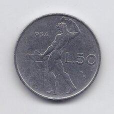 ITALIJA 50 LIRE 1954 KM # 95.1 VF
