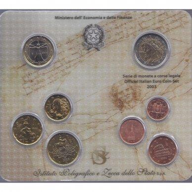 ITALIJA 2003 m. OFICIALUS BANKINIS EURO MONETŲ RINKINYS 2