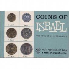 IZRAELIS 1963 m. oficialus bankinis monetų rinkinys