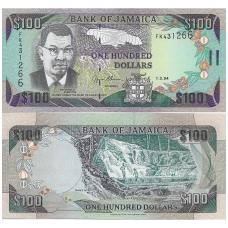 JAMAIKA 100 DOLLARS 1996 P # 72f UNC
