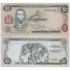 JAMAIKA 2 DOLLARS 1960 P # 58 AU