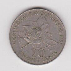 JAMAIKA 20 CENTS 1985 KM # 120 VF