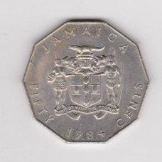 JAMAIKA 50 CENTS 1984 KM # 65 VF-XF