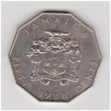 JAMAIKA 50 CENTS 1988 KM # 65 VF-XF
